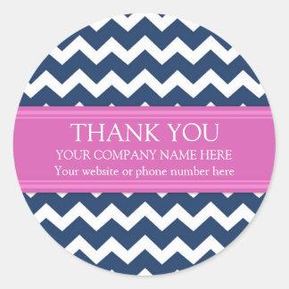 Nombre Chevron rosado azul de Business Thank You Pegatina Redonda