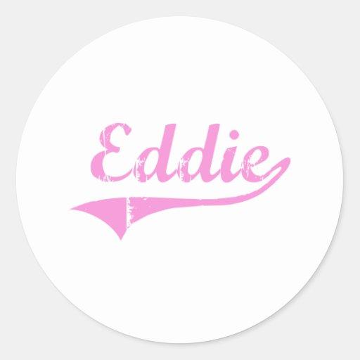 Nombre clásico del estilo de Eddie Pegatina Redonda