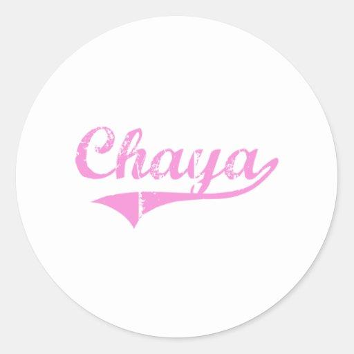 Nombre clásico del estilo del Chaya Pegatina Redonda