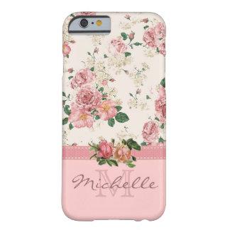 Nombre color de rosa floral del monograma del rosa funda barely there iPhone 6