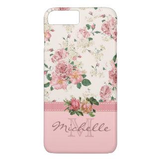 Nombre color de rosa floral del monograma del rosa funda iPhone 7 plus