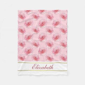 Nombre color de rosa rosado femenino elegante del manta de forro polar