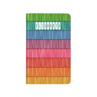 Nombre colorido abstracto del modelo de las rayas cuaderno