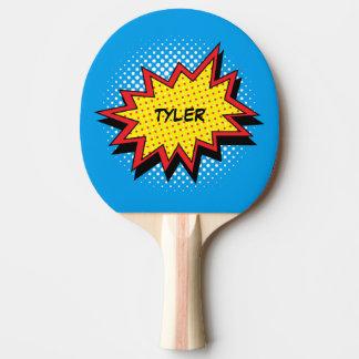 Nombre colorido del estilo del cómic pala de tenis de mesa
