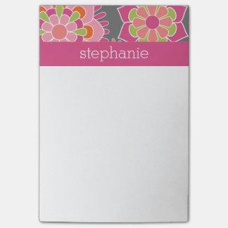 Nombre colorido del personalizado del estampado de notas post-it