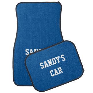 Nombre coordinado color fresco azul eléctrico medi alfombrilla de coche