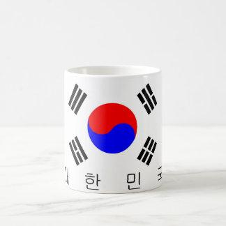nombre coreano del texto del país de la bandera de taza