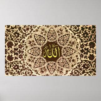 Nombre de Alá con los ornamentos tradicionales Posters