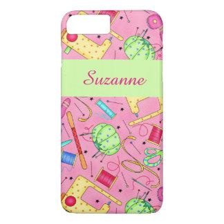Nombre de costura rosado del arte de las nociones funda iPhone 7 plus
