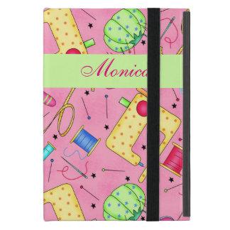 Nombre de costura rosado del arte de las nociones iPad mini cárcasa