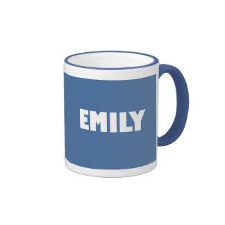 Nombre de Emily de los azules claros Taza De Dos Colores