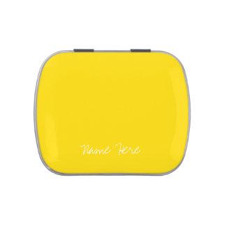 Nombre de encargo amarillo lindo latas de caramelos