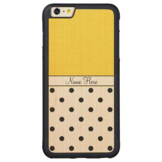 Nombre de encargo amarillo, monograma negro de los funda para iPhone 6 plus de carved® de nogal