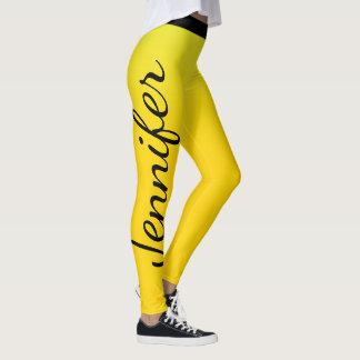 Nombre de encargo amarillo y negro llamativo leggings