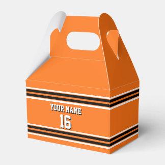 Nombre de encargo anaranjado del número del jersey cajas para regalos