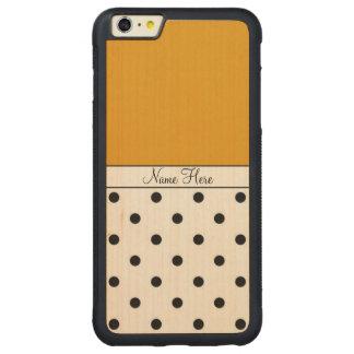 Nombre de encargo anaranjado, monograma negro de funda de arce bumper carved® para iPhone 6 plus