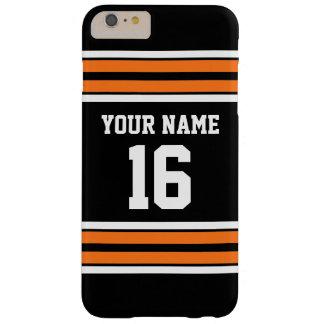 Nombre de encargo anaranjado negro del número del funda de iPhone 6 plus barely there