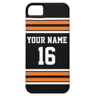 Nombre de encargo anaranjado negro del número del funda para iPhone 5 barely there