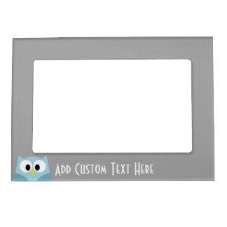 Nombre de encargo azul y gris del búho lindo del marcos magnéticos de fotos