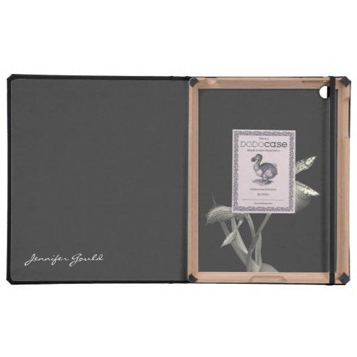 Nombre de encargo blanco negro floral del amante d iPad protectores