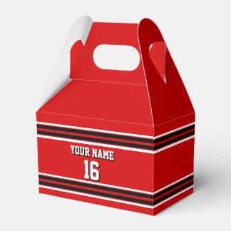 Nombre de encargo blanco negro rojo del número del caja para regalos de fiestas