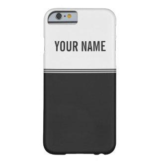 Nombre de encargo blanco y negro de las rayas funda para iPhone 6 barely there