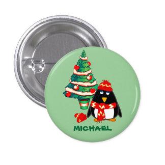 Nombre de encargo. Botones del regalo del navidad Pin Redondo De 1 Pulgada