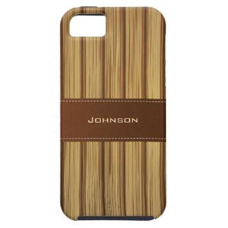 Nombre de encargo de cuero cosido modelo de madera iPhone 5 Case-Mate protectores
