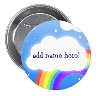 Nombre de encargo de la nube del arco iris - insig pin redondo de 3 pulgadas