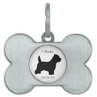Nombre de encargo de Westie y etiqueta de la ident Placas Mascota