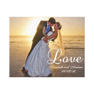 Nombre de encargo del amor de la foto del boda impresión en lienzo
