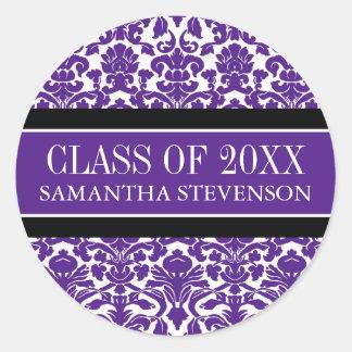 Nombre de encargo del año de la graduación púrpura pegatina redonda