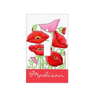 Nombre de encargo del arte rosado rojo de las placas para interruptor