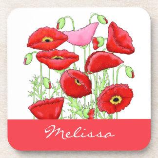 Nombre de encargo del arte rosado rojo de las posavasos de bebida