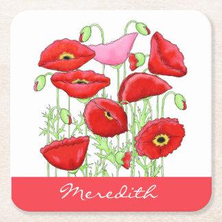 Nombre de encargo del arte rosado rojo de las posavasos desechable cuadrado