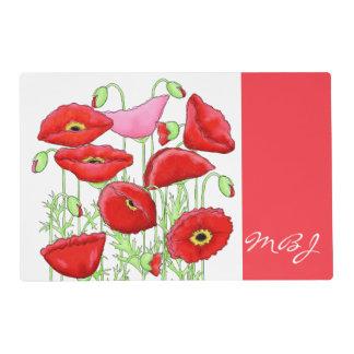 Nombre de encargo del arte rosado rojo de las salvamanteles