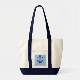 Nombre de encargo del barco del ancla náutica azul bolsa de mano