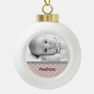 Nombre de encargo del bebé y ornamento de la bola adorno de cerámica en forma de bola