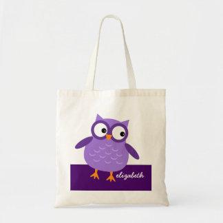 Nombre de encargo del búho púrpura lindo para su bolsa tela barata