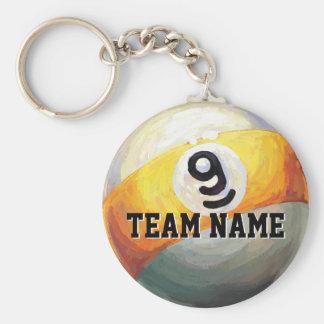 Nombre de encargo del equipo de 9 bolas llavero redondo tipo pin