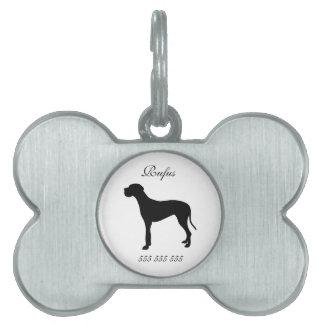 Nombre de encargo del perro de great dane y etique placa mascota