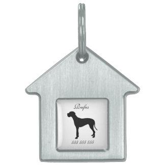 Nombre de encargo del perro de great dane y etique placa de mascota