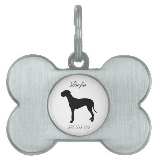 Nombre de encargo del perro de great dane y etique placas de nombre de mascota