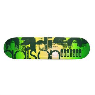 Nombre de encargo en amarillo y verde de neón tablas de patinar