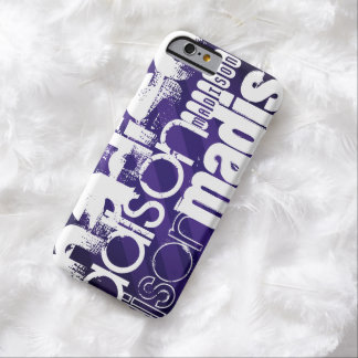 Nombre de encargo en rayas púrpuras de color funda de iPhone 6 barely there