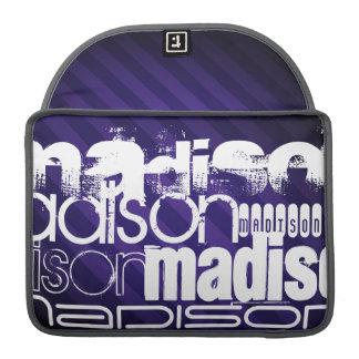 Nombre de encargo en rayas púrpuras de color fundas para macbook pro