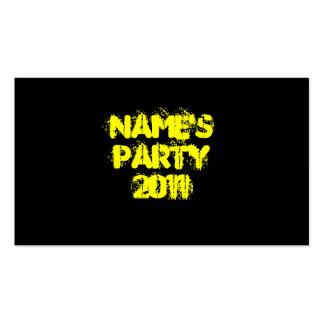 Nombre de encargo Fiesta 2011 Amarillo y negro Tarjeta De Visita