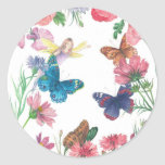 nombre de encargo floral ilustrado verano-hada pegatina redonda