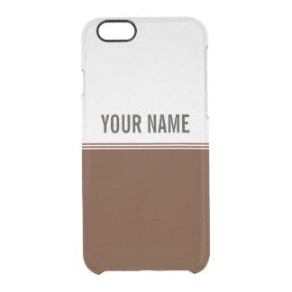 Nombre de encargo marrón de las rayas modernas funda clearly™ deflector para iPhone 6 de uncommon