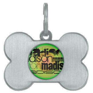 Nombre de encargo; Negro, verde y diseño radial Placa De Nombre De Mascota